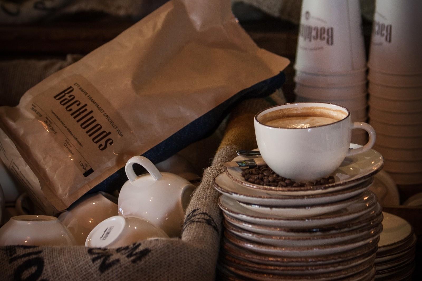 Inzoomad bild på kaffekopp på Backlunds Cafe Bar och Bistro