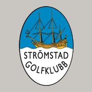 Märke för Strömstad Golfklubb med en båt på sig.