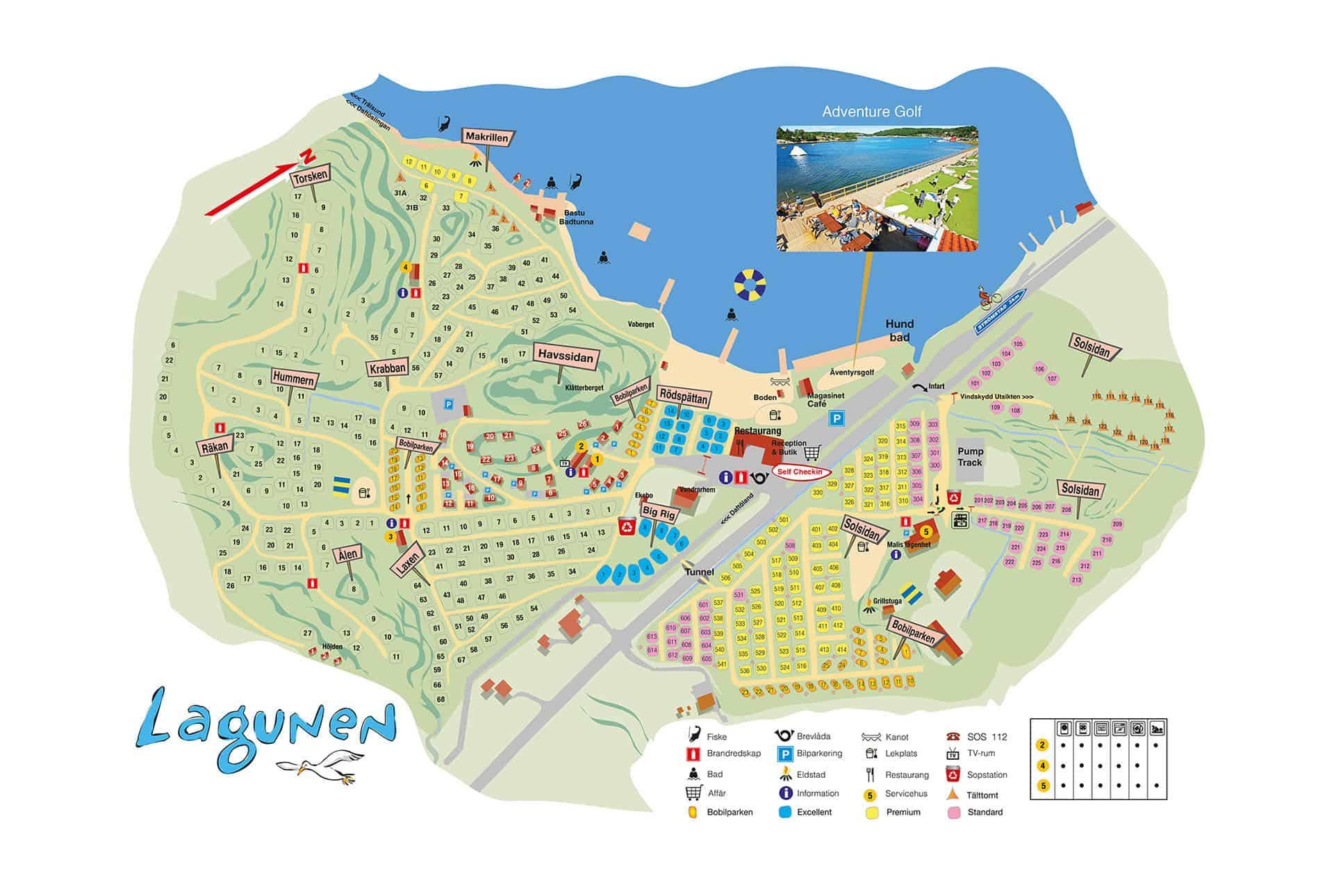 Karta över Lagunens område utanför Strömstad i Bohuslän.